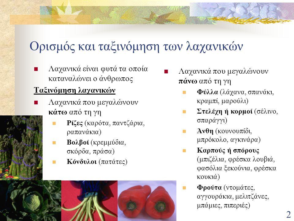 2 Ορισμός και ταξινόμηση των λαχανικών Λαχανικά είναι φυτά τα οποία καταναλώνει ο άνθρωπος Ταξινόμηση λαχανικών Λαχανικά που μεγαλώνουν κάτω από τη γη