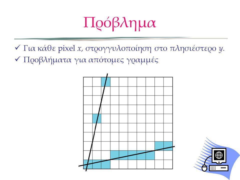 Πρόβλημα Για κάθε pixel x, στρογγυλοποίηση στο πλησιέστερο y. Προβλήματα για απότομες γραμμές