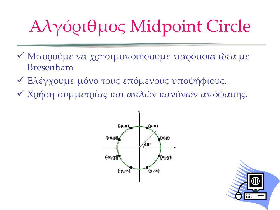 Αλγόριθμος Midpoint Circle Μπορούμε να χρησιμοποιήσουμε παρόμοια ιδέα με Bresenham Ελέγχουμε μόνο τους επόμενους υποψήφιους.