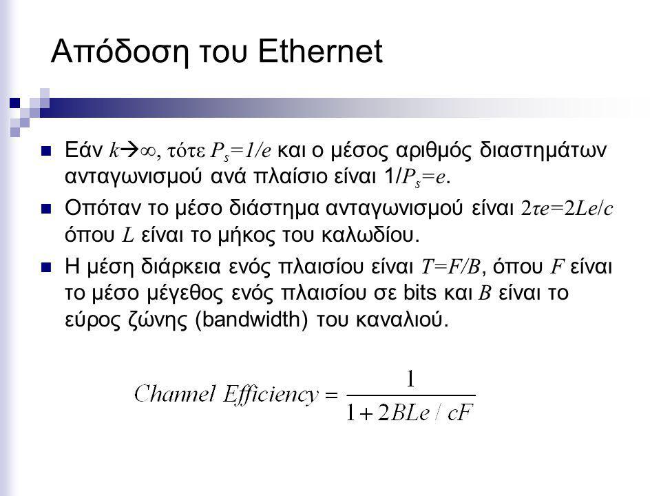 Απόδοση του Ethernet Εάν k  ∞, τότε P s =1/e και ο μέσος αριθμός διαστημάτων ανταγωνισμού ανά πλαίσιο είναι 1/ P s =e. Οπόταν το μέσο διάστημα ανταγω