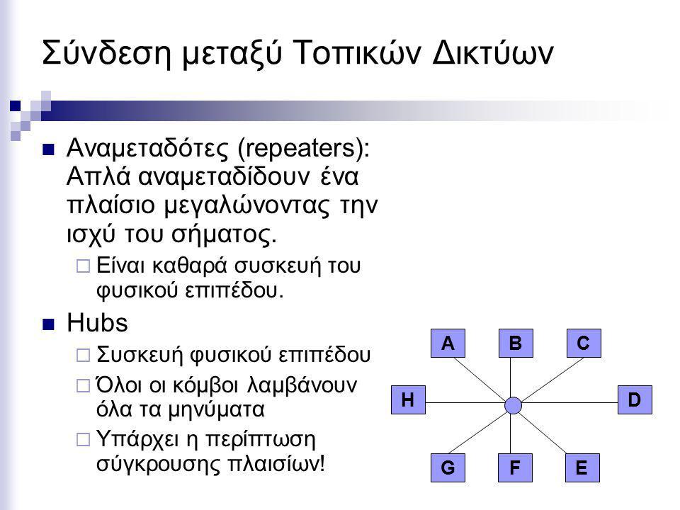 Σύνδεση μεταξύ Τοπικών Δικτύων Αναμεταδότες (repeaters): Απλά αναμεταδίδουν ένα πλαίσιο μεγαλώνοντας την ισχύ του σήματος.  Είναι καθαρά συσκευή του