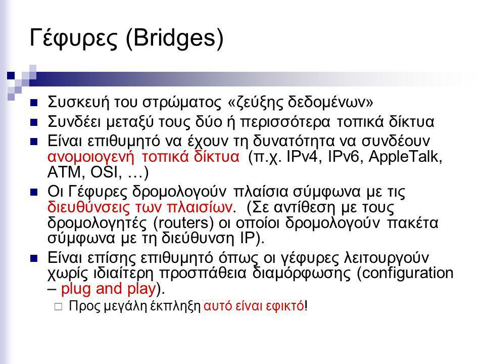 Γέφυρες (Bridges) Συσκευή του στρώματος «ζεύξης δεδομένων» Συνδέει μεταξύ τους δύο ή περισσότερα τοπικά δίκτυα Είναι επιθυμητό να έχουν τη δυνατότητα να συνδέουν ανομοιογενή τοπικά δίκτυα (π.χ.