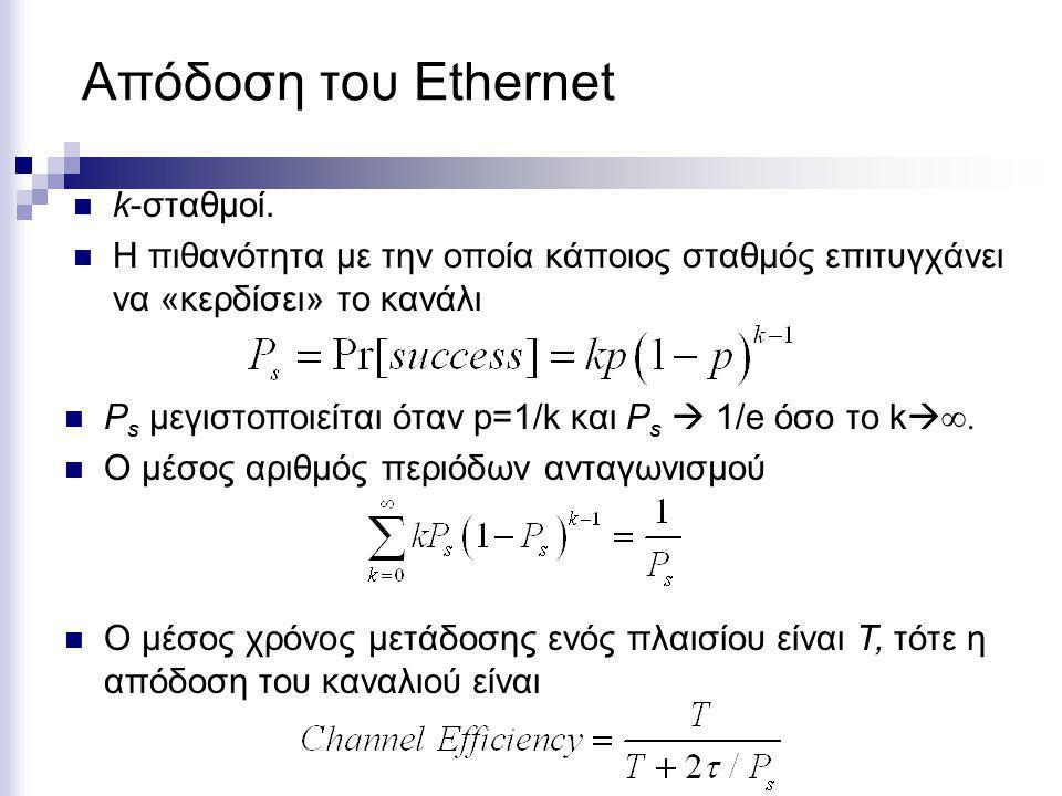 Απόδοση του Ethernet Εάν k  ∞, τότε P s =1/e και ο μέσος αριθμός διαστημάτων ανταγωνισμού ανά πλαίσιο είναι 1/ P s =e.