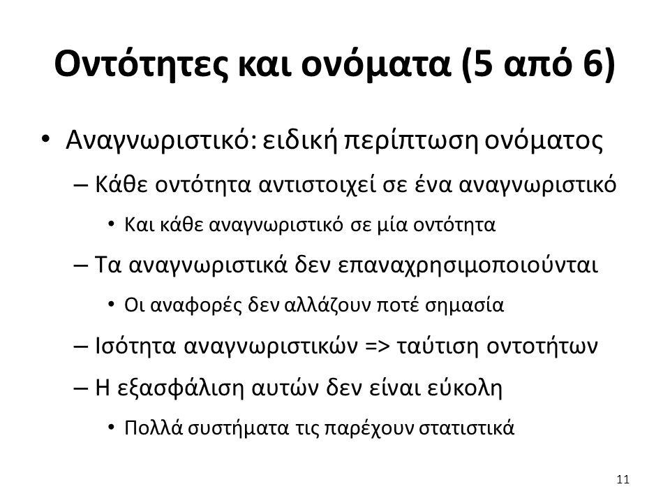 Οντότητες και ονόματα (5 από 6) Αναγνωριστικό: ειδική περίπτωση ονόματος – Κάθε οντότητα αντιστοιχεί σε ένα αναγνωριστικό Και κάθε αναγνωριστικό σε μία οντότητα – Τα αναγνωριστικά δεν επαναχρησιμοποιούνται Οι αναφορές δεν αλλάζουν ποτέ σημασία – Ισότητα αναγνωριστικών => ταύτιση οντοτήτων – Η εξασφάλιση αυτών δεν είναι εύκολη Πολλά συστήματα τις παρέχουν στατιστικά 11