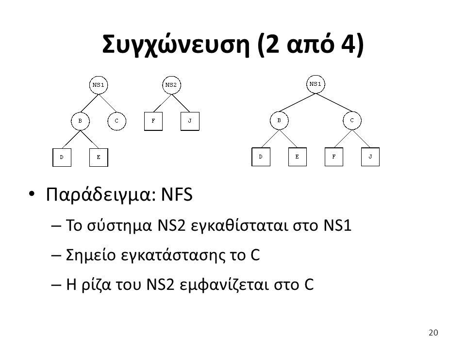 Συγχώνευση (2 από 4) Παράδειγμα: NFS – Το σύστημα NS2 εγκαθίσταται στο NS1 – Σημείο εγκατάστασης το C – Η ρίζα του NS2 εμφανίζεται στο C 20