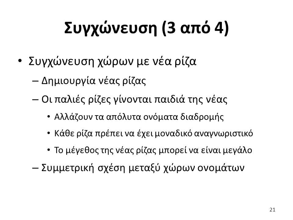 Συγχώνευση (3 από 4) Συγχώνευση χώρων με νέα ρίζα – Δημιουργία νέας ρίζας – Οι παλιές ρίζες γίνονται παιδιά της νέας Αλλάζουν τα απόλυτα ονόματα διαδρομής Κάθε ρίζα πρέπει να έχει μοναδικό αναγνωριστικό Το μέγεθος της νέας ρίζας μπορεί να είναι μεγάλο – Συμμετρική σχέση μεταξύ χώρων ονομάτων 21