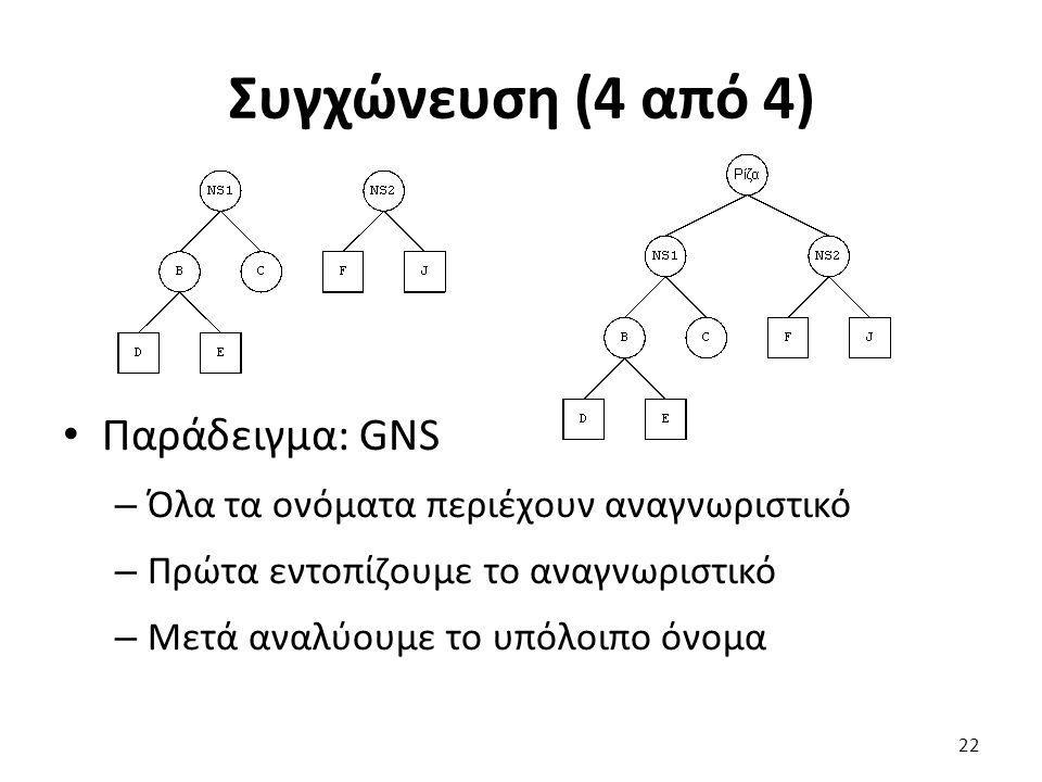 Συγχώνευση (4 από 4) Παράδειγμα: GNS – Όλα τα ονόματα περιέχουν αναγνωριστικό – Πρώτα εντοπίζουμε το αναγνωριστικό – Μετά αναλύουμε το υπόλοιπο όνομα 22