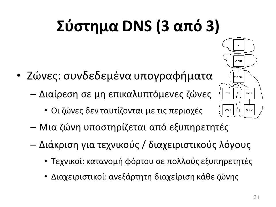 Σύστημα DNS (3 από 3) Ζώνες: συνδεδεμένα υπογραφήματα – Διαίρεση σε μη επικαλυπτόμενες ζώνες Οι ζώνες δεν ταυτίζονται με τις περιοχές – Μια ζώνη υποστηρίζεται από εξυπηρετητές – Διάκριση για τεχνικούς / διαχειριστικούς λόγους Τεχνικοί: κατανομή φόρτου σε πολλούς εξυπηρετητές Διαχειριστικοί: ανεξάρτητη διαχείριση κάθε ζώνης 31