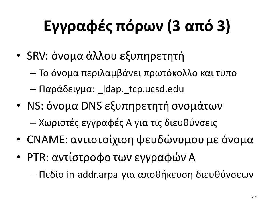 Εγγραφές πόρων (3 από 3) SRV: όνομα άλλου εξυπηρετητή – Το όνομα περιλαμβάνει πρωτόκολλο και τύπο – Παράδειγμα: _ldap._tcp.ucsd.edu NS: όνομα DNS εξυπηρετητή ονομάτων – Χωριστές εγγραφές A για τις διευθύνσεις CNAME: αντιστοίχιση ψευδώνυμου με όνομα PTR: αντίστροφο των εγγραφών A – Πεδίο in-addr.arpa για αποθήκευση διευθύνσεων 34