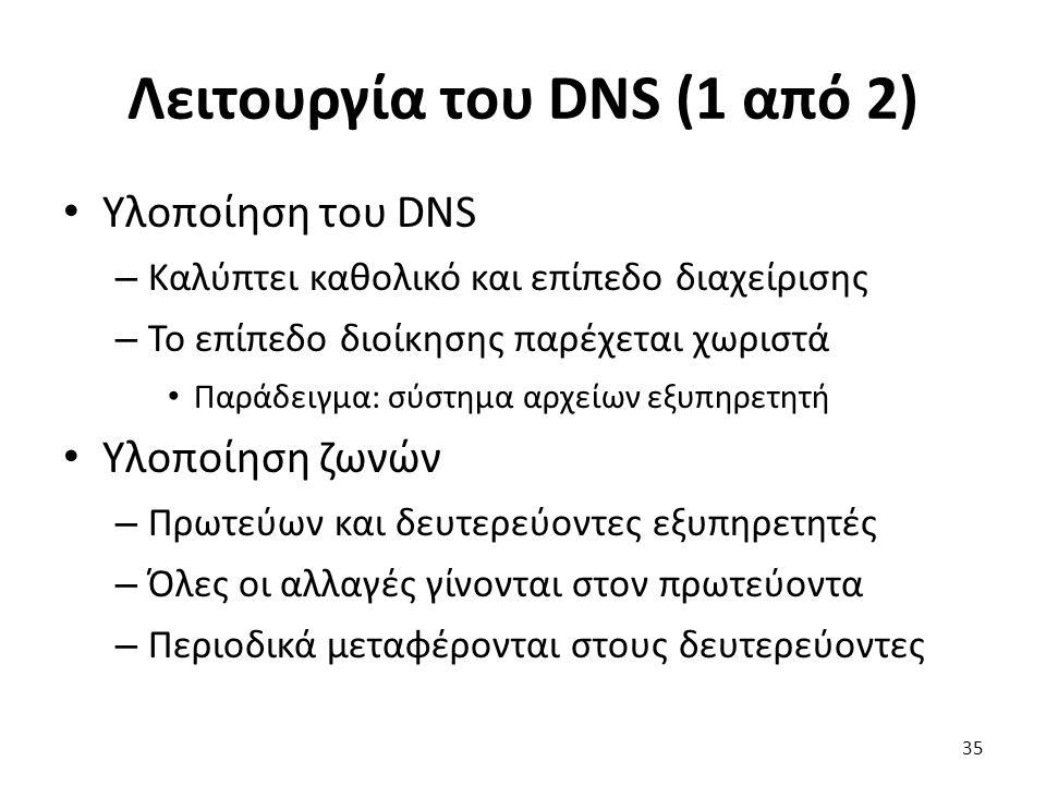 Λειτουργία του DNS (1 από 2) Υλοποίηση του DNS – Καλύπτει καθολικό και επίπεδο διαχείρισης – Το επίπεδο διοίκησης παρέχεται χωριστά Παράδειγμα: σύστημα αρχείων εξυπηρετητή Υλοποίηση ζωνών – Πρωτεύων και δευτερεύοντες εξυπηρετητές – Όλες οι αλλαγές γίνονται στον πρωτεύοντα – Περιοδικά μεταφέρονται στους δευτερεύοντες 35
