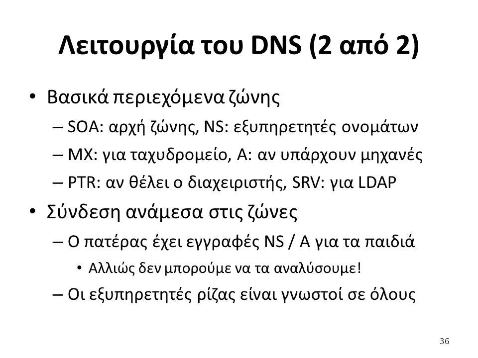 Λειτουργία του DNS (2 από 2) Βασικά περιεχόμενα ζώνης – SOA: αρχή ζώνης, NS: εξυπηρετητές ονομάτων – MX: για ταχυδρομείο, A: αν υπάρχουν μηχανές – PTR: αν θέλει ο διαχειριστής, SRV: για LDAP Σύνδεση ανάμεσα στις ζώνες – Ο πατέρας έχει εγγραφές NS / A για τα παιδιά Αλλιώς δεν μπορούμε να τα αναλύσουμε.