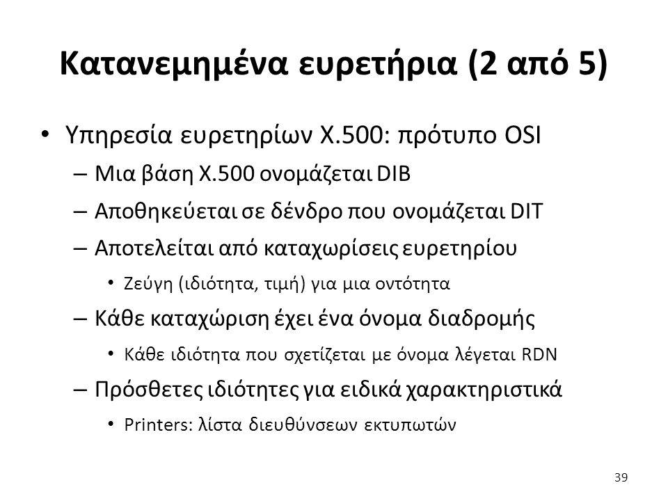 Κατανεμημένα ευρετήρια (2 από 5) Υπηρεσία ευρετηρίων X.500: πρότυπο OSI – Μια βάση Χ.500 ονομάζεται DIB – Αποθηκεύεται σε δένδρο που ονομάζεται DIT – Αποτελείται από καταχωρίσεις ευρετηρίου Ζεύγη (ιδιότητα, τιμή) για μια οντότητα – Κάθε καταχώριση έχει ένα όνομα διαδρομής Κάθε ιδιότητα που σχετίζεται με όνομα λέγεται RDN – Πρόσθετες ιδιότητες για ειδικά χαρακτηριστικά Printers: λίστα διευθύνσεων εκτυπωτών 39
