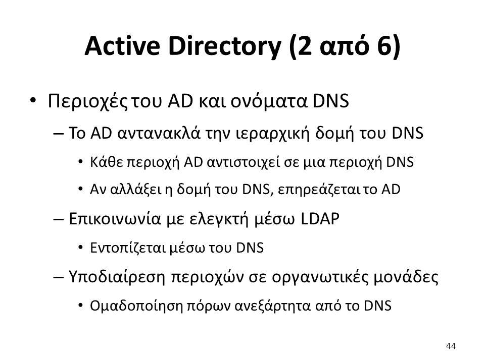 Active Directory (2 από 6) Περιοχές του AD και ονόματα DNS – Το AD αντανακλά την ιεραρχική δομή του DNS Κάθε περιοχή AD αντιστοιχεί σε μια περιοχή DNS Αν αλλάξει η δομή του DNS, επηρεάζεται το AD – Επικοινωνία με ελεγκτή μέσω LDAP Εντοπίζεται μέσω του DNS – Υποδιαίρεση περιοχών σε οργανωτικές μονάδες Ομαδοποίηση πόρων ανεξάρτητα από το DNS 44
