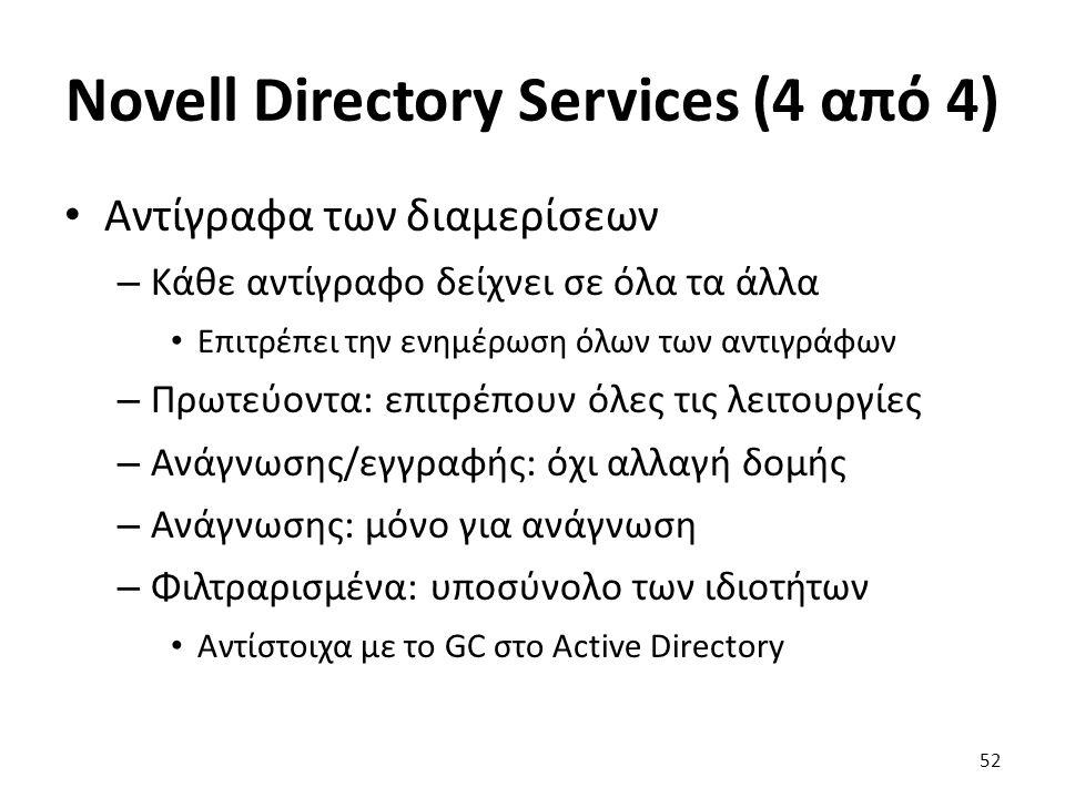 Novell Directory Services (4 από 4) Αντίγραφα των διαμερίσεων – Κάθε αντίγραφο δείχνει σε όλα τα άλλα Επιτρέπει την ενημέρωση όλων των αντιγράφων – Πρωτεύοντα: επιτρέπουν όλες τις λειτουργίες – Ανάγνωσης/εγγραφής: όχι αλλαγή δομής – Ανάγνωσης: μόνο για ανάγνωση – Φιλτραρισμένα: υποσύνολο των ιδιοτήτων Αντίστοιχα με το GC στο Active Directory 52