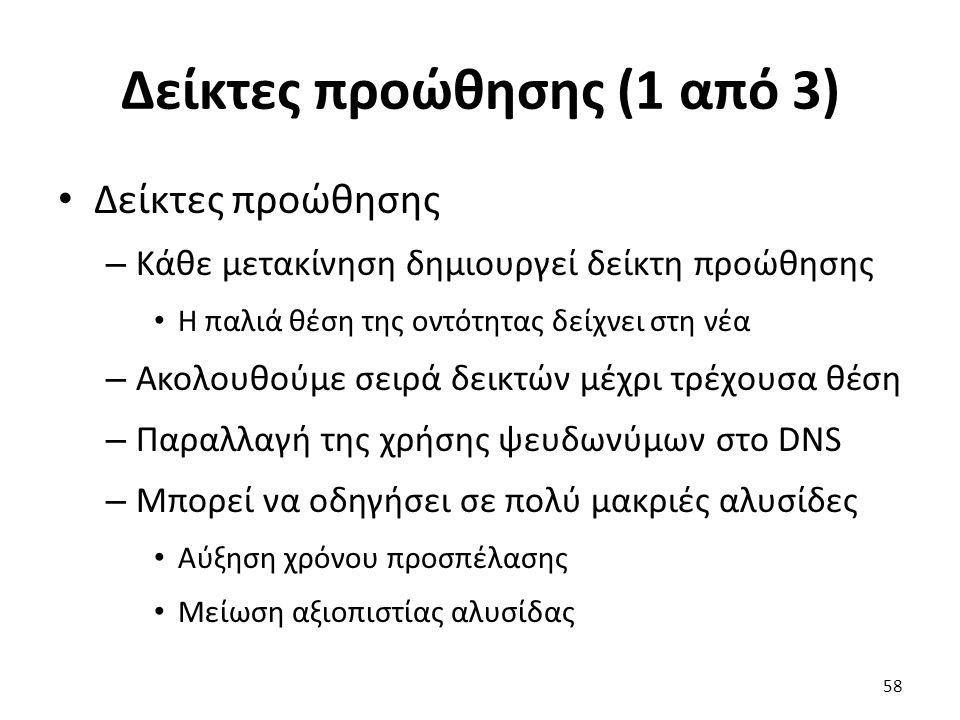 Δείκτες προώθησης (1 από 3) Δείκτες προώθησης – Κάθε μετακίνηση δημιουργεί δείκτη προώθησης Η παλιά θέση της οντότητας δείχνει στη νέα – Ακολουθούμε σειρά δεικτών μέχρι τρέχουσα θέση – Παραλλαγή της χρήσης ψευδωνύμων στο DNS – Μπορεί να οδηγήσει σε πολύ μακριές αλυσίδες Αύξηση χρόνου προσπέλασης Μείωση αξιοπιστίας αλυσίδας 58