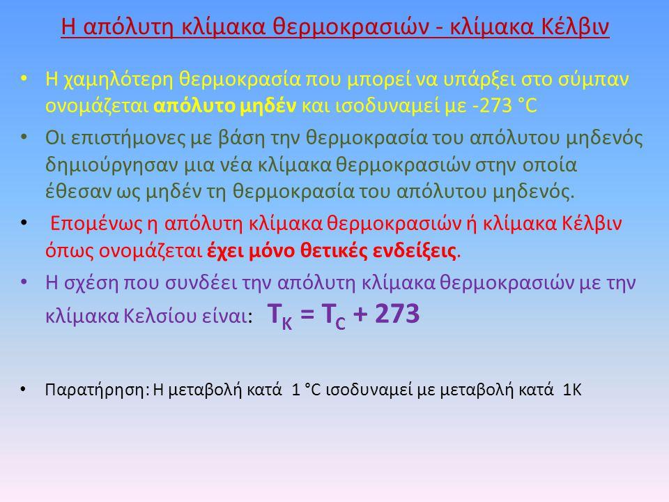 Η απόλυτη κλίμακα θερμοκρασιών - κλίμακα Κέλβιν Η χαμηλότερη θερμοκρασία που μπορεί να υπάρξει στο σύμπαν ονομάζεται απόλυτο μηδέν και ισοδυναμεί με -