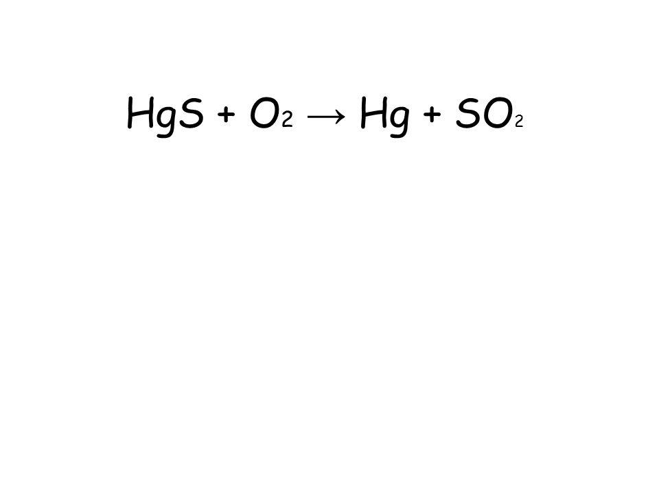 HgS + O 2 → Hg + SO 2