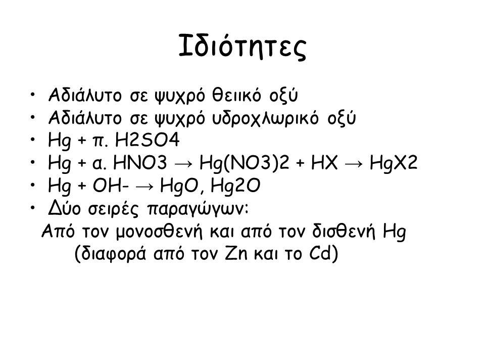 Ιδιότητες Αδιάλυτο σε ψυχρό θειικό οξύ Αδιάλυτο σε ψυχρό υδροχλωρικό οξύ Hg + π. H2SO4 Hg + α. HNO3 → Hg(NO3)2 + HX → HgX2 Hg + OH- → HgO, Hg2O Δύο σε