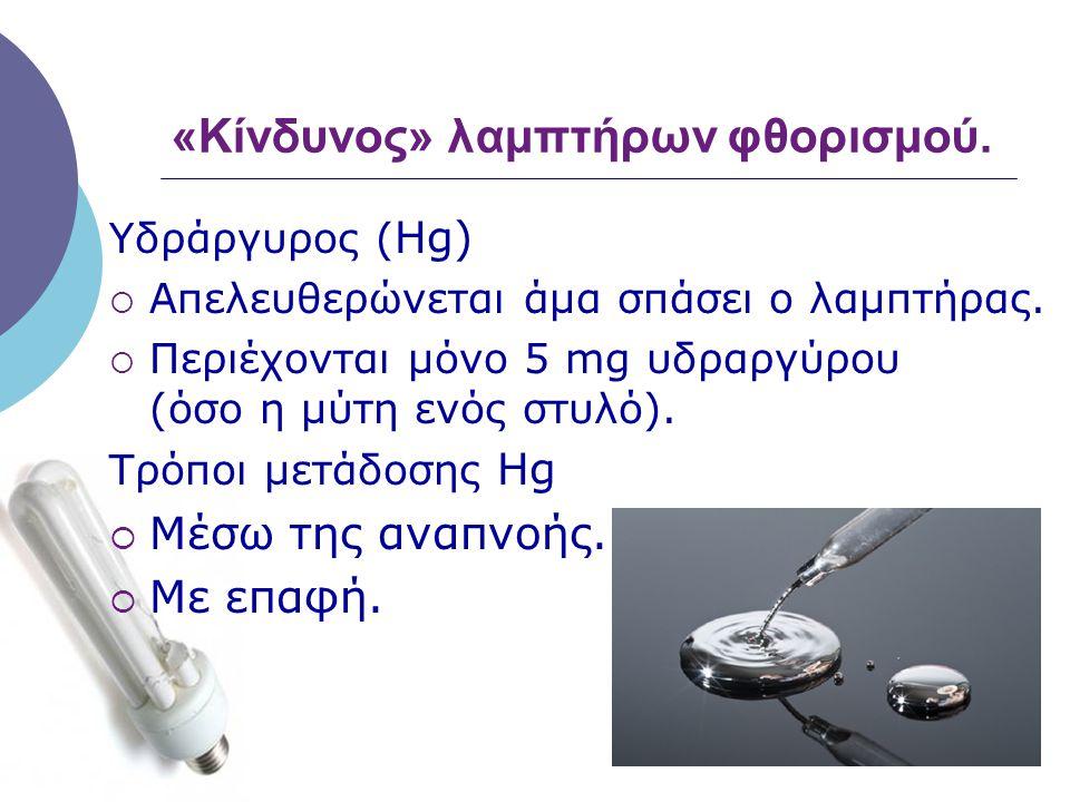 «Κίνδυνος» λαμπτήρων φθορισμού. Υδράργυρος ( Hg)  Απελευθερώνεται άμα σπάσει ο λαμπτήρας.  Περιέχονται μόνο 5 mg υδραργύρου (όσο η μύτη ενός στυλό).