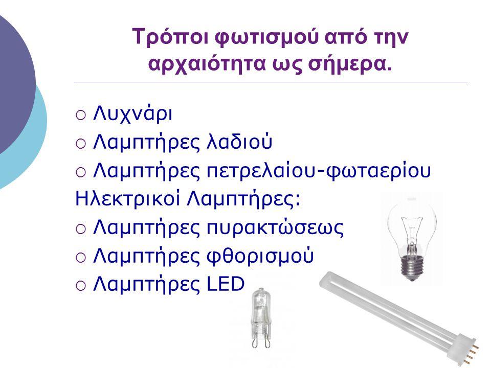 Τρόποι φωτισμού από την αρχαιότητα ως σήμερα.  Λυχνάρι  Λαμπτήρες λαδιού  Λαμπτήρες πετρελαίου-φωταερίου Ηλεκτρικοί Λαμπτήρες:  Λαμπτήρες πυρακτώσ