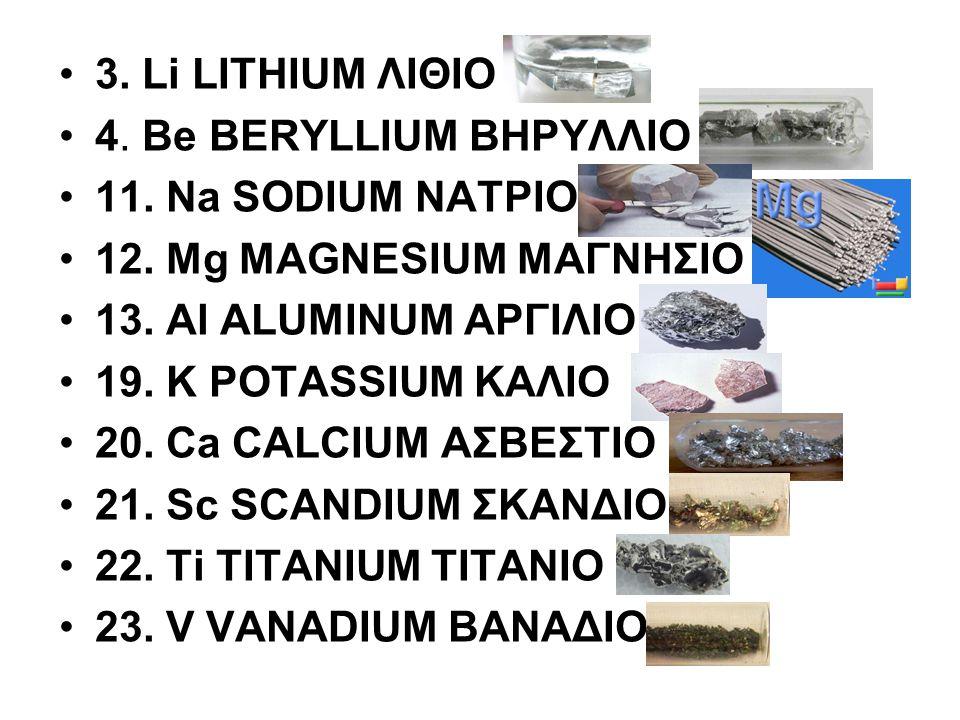 3. Li LITHIUM ΛΙΘΙΟ 4. Be BERYLLIUM ΒΗΡΥΛΛΙΟ 11. Na SODIUM ΝΑΤΡΙΟ 12. Mg MAGNESIUM ΜΑΓΝΗΣΙΟ 13. Al ALUMINUM ΑΡΓΙΛΙΟ 19. K POTASSIUM ΚΑΛΙΟ 20. Ca CALCI