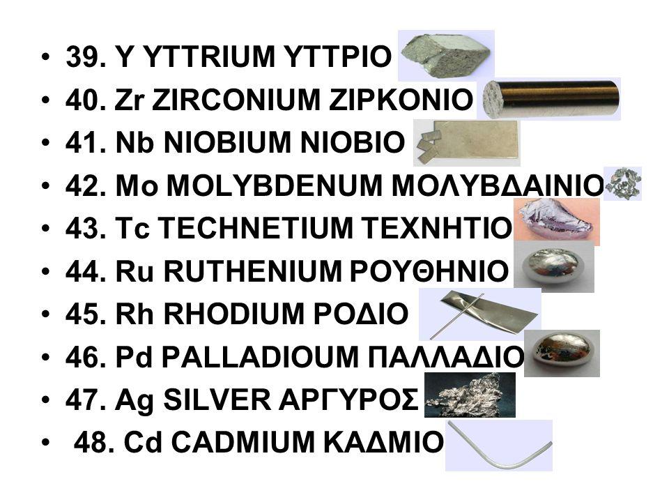 39. Y YTTRIUM ΥΤΤΡΙΟ 40. Zr ZIRCONIUM ΖΙΡΚΟΝΙΟ 41. Nb NIOBIUM ΝΙΟΒΙΟ 42. Μο MOLYBDENUM ΜΟΛΥΒΔΑΙΝΙΟ 43. Tc TECHNETIUM ΤΕΧΝΗΤΙΟ 44. Ru RUTHENIUM ΡΟΥΘΗΝΙ