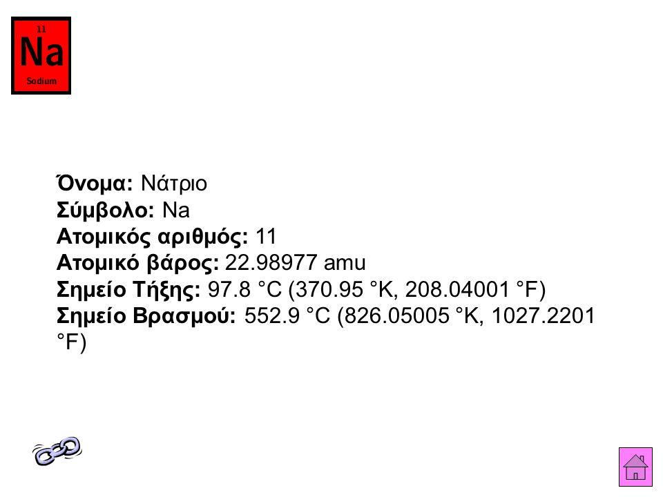 Όνομα: Νάτριο Σύμβολο: Na Ατομικός αριθμός: 11 Ατομικό βάρος: 22.98977 amu Σημείο Τήξης: 97.8 °C (370.95 °K, 208.04001 °F) Σημείο Βρασμού: 552.9 °C (826.05005 °K, 1027.2201 °F)