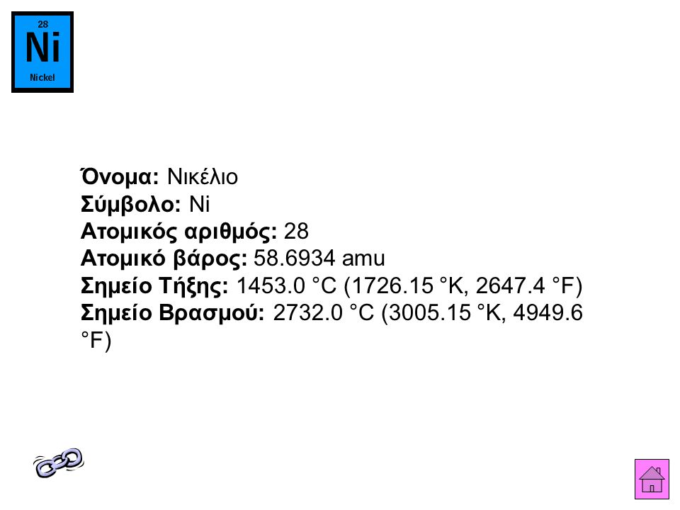 Όνομα: Νικέλιο Σύμβολο: Ni Ατομικός αριθμός: 28 Ατομικό βάρος: 58.6934 amu Σημείο Τήξης: 1453.0 °C (1726.15 °K, 2647.4 °F) Σημείο Βρασμού: 2732.0 °C (