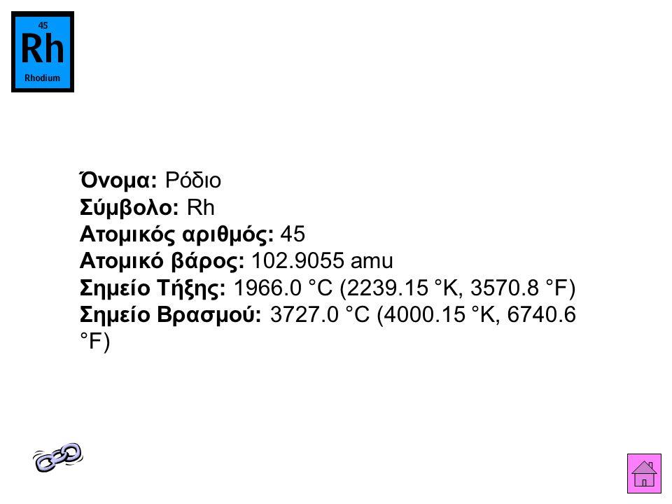 Όνομα: Ρόδιο Σύμβολο: Rh Ατομικός αριθμός: 45 Ατομικό βάρος: 102.9055 amu Σημείο Τήξης: 1966.0 °C (2239.15 °K, 3570.8 °F) Σημείο Βρασμού: 3727.0 °C (4