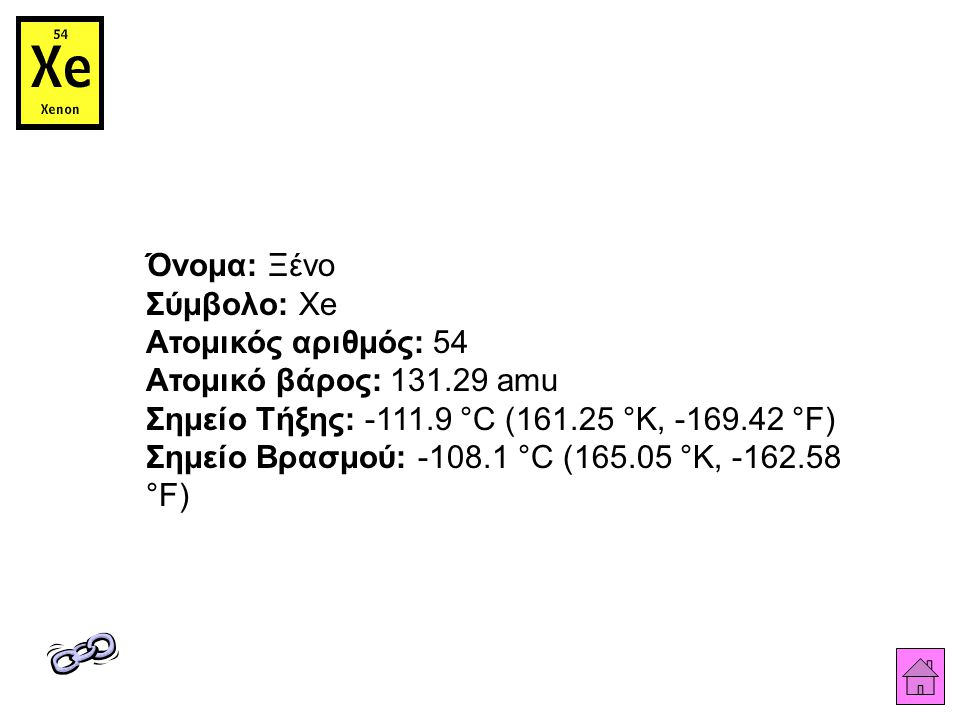 Όνομα: Ξένο Σύμβολο: Xe Ατομικός αριθμός: 54 Ατομικό βάρος: 131.29 amu Σημείο Τήξης: -111.9 °C (161.25 °K, -169.42 °F) Σημείο Βρασμού: -108.1 °C (165.05 °K, -162.58 °F)