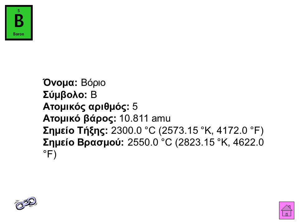Όνομα: Βόριο Σύμβολο: B Ατομικός αριθμός: 5 Ατομικό βάρος: 10.811 amu Σημείο Τήξης: 2300.0 °C (2573.15 °K, 4172.0 °F) Σημείο Βρασμού: 2550.0 °C (2823.15 °K, 4622.0 °F)