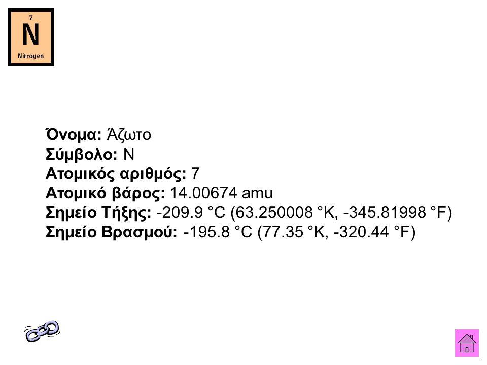 Όνομα: Άζωτο Σύμβολο: N Ατομικός αριθμός: 7 Ατομικό βάρος: 14.00674 amu Σημείο Τήξης: -209.9 °C (63.250008 °K, -345.81998 °F) Σημείο Βρασμού: -195.8 °C (77.35 °K, -320.44 °F)