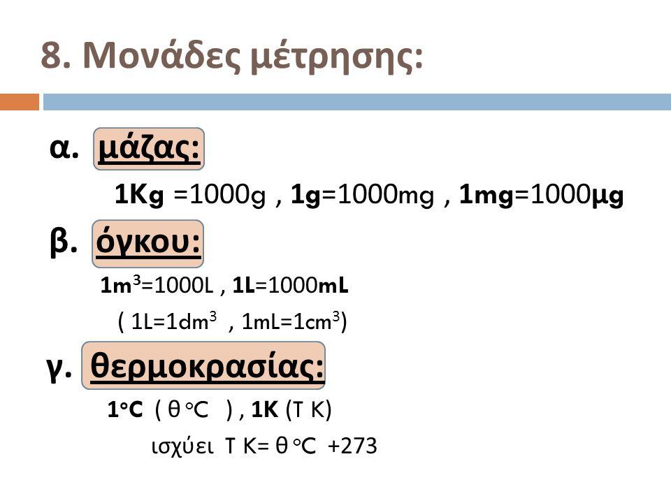 α. μάζας : 1Kg =1000g, 1g=1000mg, 1mg=1000 μ g β. όγκου : 1m 3 =1000L, 1L=1000mL ( 1L=1dm 3, 1mL=1cm 3 ) γ. θερμοκρασίας : 1 o C ( θ o C ), 1K (T K) ι