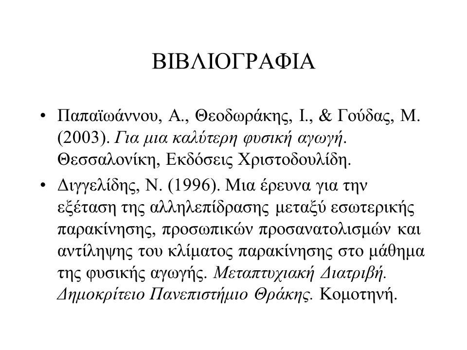 ΒΙΒΛΙΟΓΡΑΦΙΑ Παπαϊωάννου, Α., Θεοδωράκης, Ι., & Γούδας, Μ. (2003). Για μια καλύτερη φυσική αγωγή. Θεσσαλονίκη, Εκδόσεις Χριστοδουλίδη. Διγγελίδης, Ν.