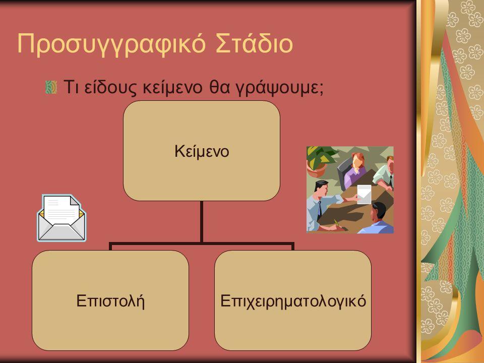 Προσυγγραφικό Στάδιο Τι είδους κείμενο θα γράψουμε; Κείμενο ΕπιστολήΕπιχειρηματολογικό