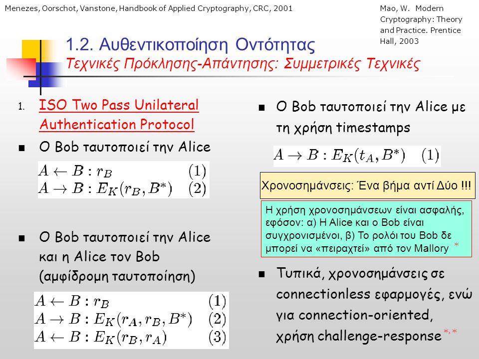 1.2. Αυθεντικοποίηση Οντότητας Τεχνικές Πρόκλησης-Απάντησης: Συμμετρικές Τεχνικές 1.