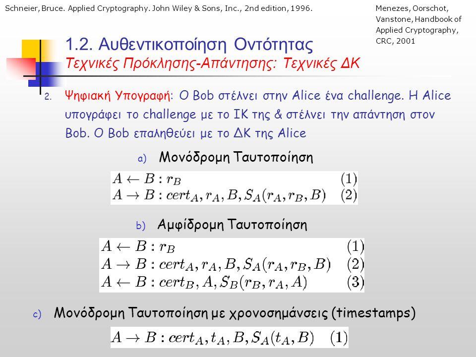 1.2. Αυθεντικοποίηση Οντότητας Τεχνικές Πρόκλησης-Απάντησης: Τεχνικές ΔΚ 2.