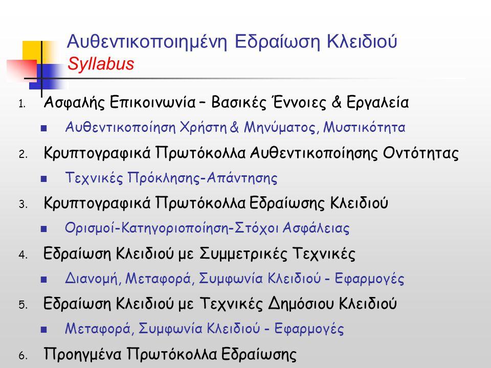 Αυθεντικοποιημένη Εδραίωση Κλειδιού Syllabus 1.