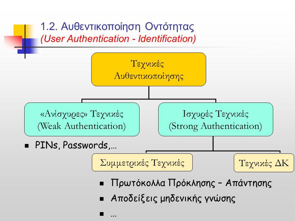 1.2. Αυθεντικοποίηση Οντότητας (User Authentication - Identification) Τεχνικές Αυθεντικοποίησης «Ανίσχυρες» Τεχνικές (Weak Authentication) Ισχυρές Τεχ