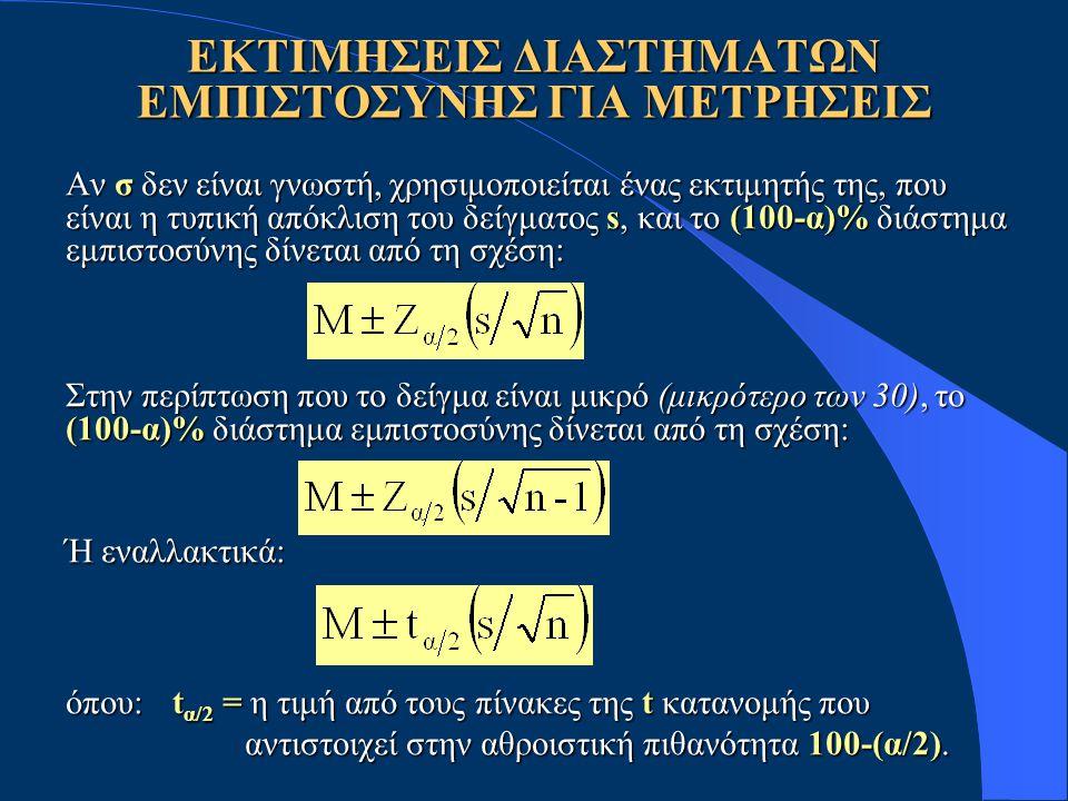 Αν σ δεν είναι γνωστή, χρησιμοποιείται ένας εκτιμητής της, που είναι η τυπική απόκλιση του δείγματος s, και το (100-α)% διάστημα εμπιστοσύνης δίνεται