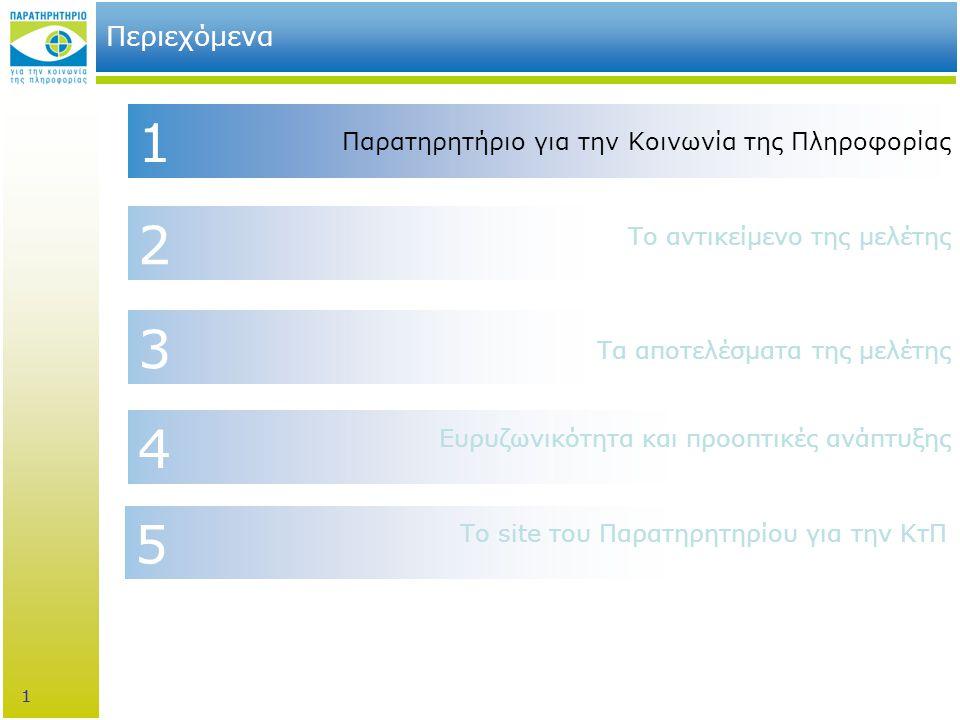 1 3 2 4 1 Περιεχόμενα Παρατηρητήριο για την Κοινωνία της Πληροφορίας Τα αποτελέσματα της μελέτης Ευρυζωνικότητα και προοπτικές ανάπτυξης Το αντικείμενο της μελέτης 1 5 Το site του Παρατηρητηρίου για την ΚτΠ