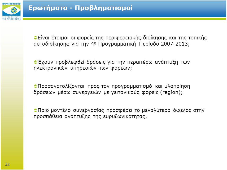 32 Ερωτήματα - Προβληματισμοί  Είναι έτοιμοι οι φορείς της περιφερειακής διοίκησης και της τοπικής αυτοδιοίκησης για την 4 η Προγραμματική Περίοδο 2007-2013;  Έχουν προβλεφθεί δράσεις για την περαιτέρω ανάπτυξη των ηλεκτρονικών υπηρεσιών των φορέων;  Προσανατολίζονται προς τον προγραμματισμό και υλοποίηση δράσεων μέσω συνεργειών με γειτονικούς φορείς (region);  Ποιο μοντέλο συνεργασίας προσφέρει το μεγαλύτερο όφελος στην προσπάθεια ανάπτυξης της ευρυζωνικότητας; 32