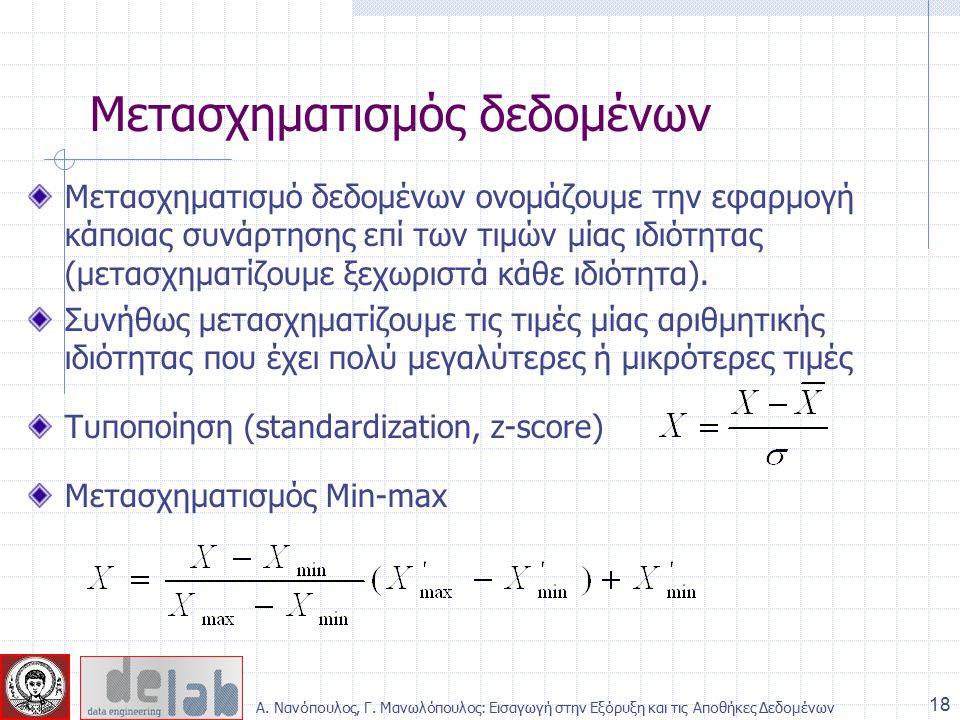 Μετασχηματισμό δεδομένων ονομάζουμε την εφαρμογή κάποιας συνάρτησης επί των τιμών μίας ιδιότητας (μετασχηματίζουμε ξεχωριστά κάθε ιδιότητα).