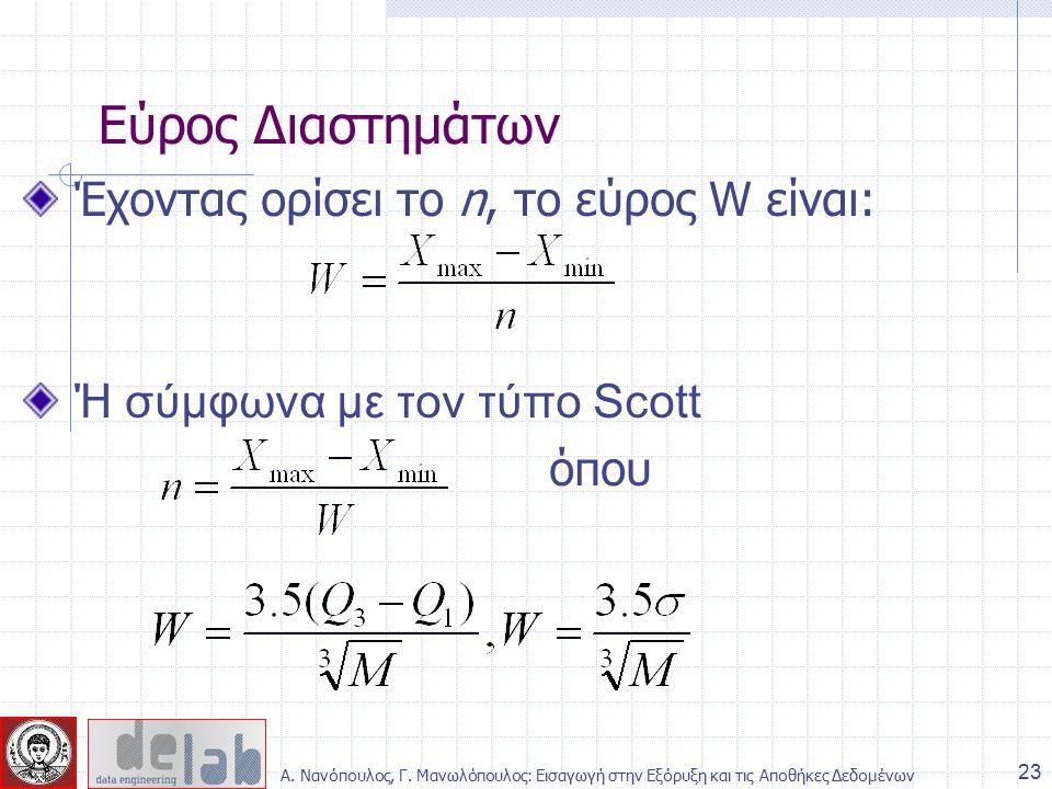 Έχοντας ορίσει το n, το εύρος W είναι: Ή σύμφωνα με τον τύπο Scott όπου Εύρος Διαστημάτων 23 Α.