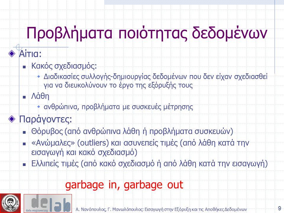 Αίτια: Κακός σχεδιασμός:  Διαδικασίες συλλογής-δημιουργίας δεδομένων που δεν είχαν σχεδιασθεί για να διευκολύνουν το έργο της εξόρυξής τους Λάθη  ανθρώπινα, προβλήματα με συσκευές μέτρησης Παράγοντες: Θόρυβος (από ανθρώπινα λάθη ή προβλήματα συσκευών) «Ανώμαλες» (outliers) και ασυνεπείς τιμές (από λάθη κατά την εισαγωγή και κακό σχεδιασμό) Ελλιπείς τιμές (από κακό σχεδιασμό ή από λάθη κατά την εισαγωγή) garbage in, garbage out Προβλήματα ποιότητας δεδομένων 9 Α.