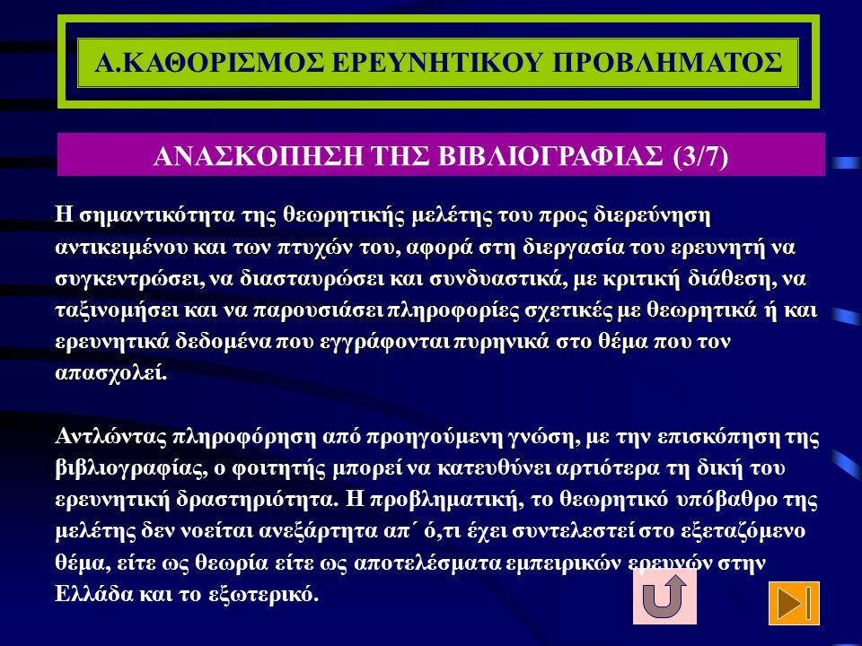 Α.ΚΑΘΟΡΙΣΜΟΣ ΕΡΕΥΝΗΤΙΚΟΥ ΠΡΟΒΛΗΜΑΤΟΣ ΑΝΑΣΚΟΠΗΣΗ ΤΗΣ ΒΙΒΛΙΟΓΡΑΦΙΑΣ (2/7) γ) Διαπιστώνει την αποτελεσματικότητα κάποιων προγενέστερων μεθοδολογικών προσ