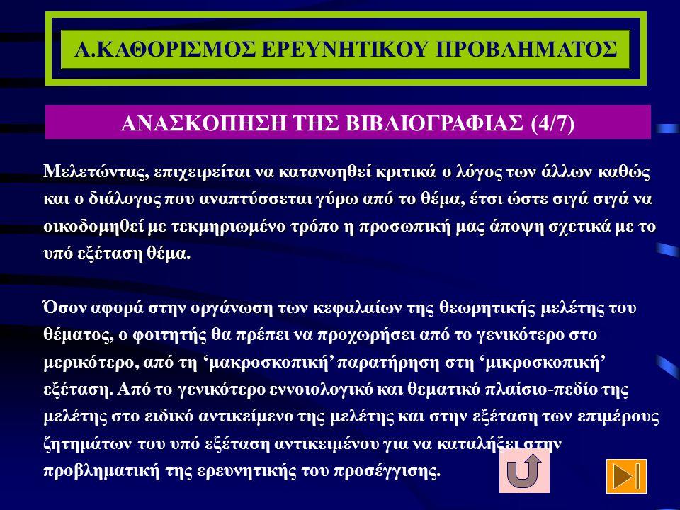 Α.ΚΑΘΟΡΙΣΜΟΣ ΕΡΕΥΝΗΤΙΚΟΥ ΠΡΟΒΛΗΜΑΤΟΣ ΑΝΑΣΚΟΠΗΣΗ ΤΗΣ ΒΙΒΛΙΟΓΡΑΦΙΑΣ (3/7) Η σημαντικότητα της θεωρητικής μελέτης του προς διερεύνηση αντικειμένου και τω