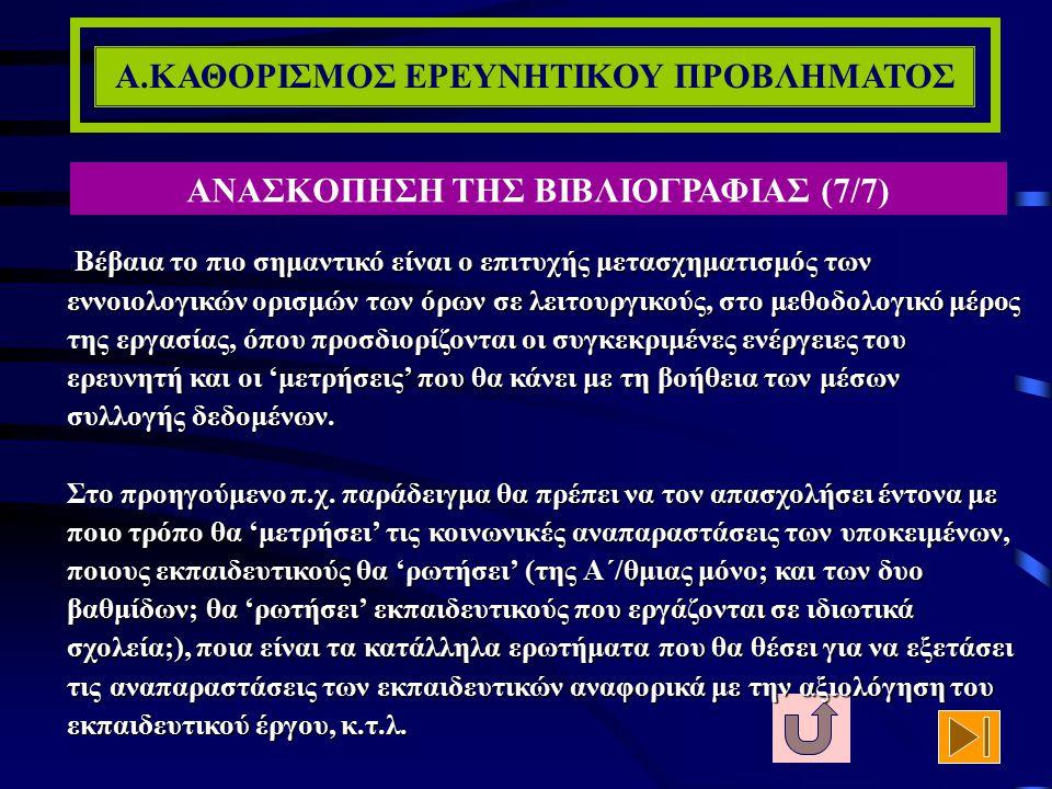 Α.ΚΑΘΟΡΙΣΜΟΣ ΕΡΕΥΝΗΤΙΚΟΥ ΠΡΟΒΛΗΜΑΤΟΣ ΑΝΑΣΚΟΠΗΣΗ ΤΗΣ ΒΙΒΛΙΟΓΡΑΦΙΑΣ (6/7) Ιδιαίτερα κρίσιμο είναι το κεφάλαιο, το οποίο συνήθως τοποθετείται ως πρώτο κα