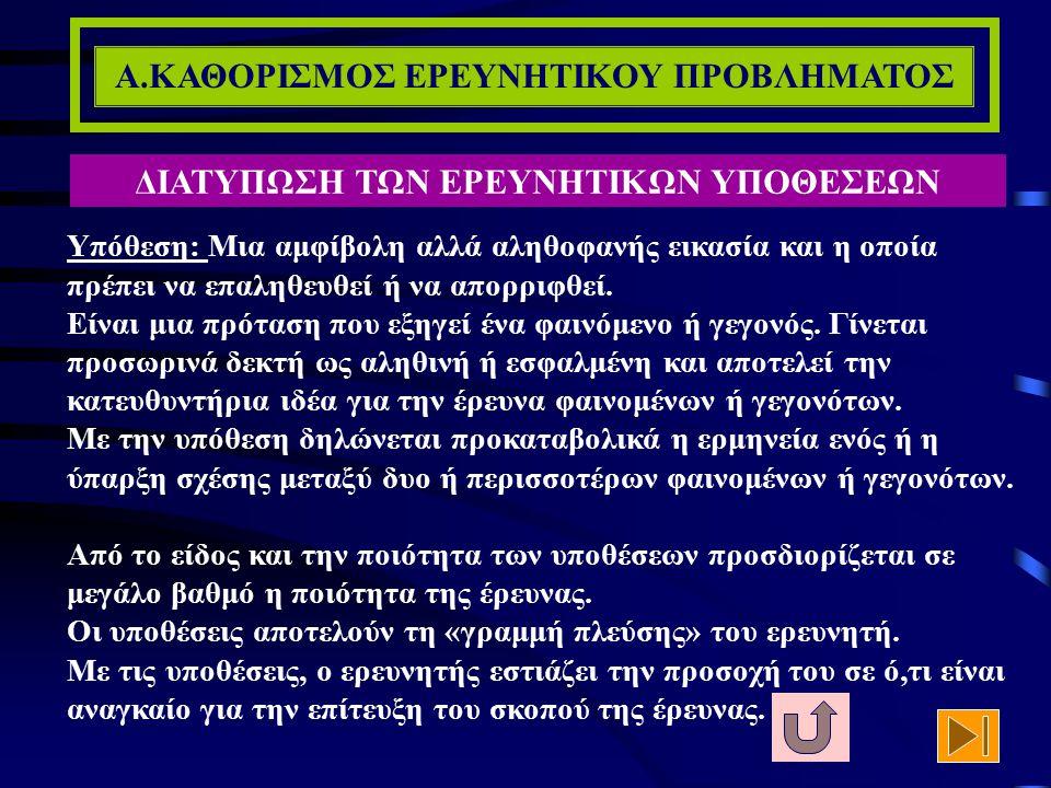 Α.ΚΑΘΟΡΙΣΜΟΣ ΕΡΕΥΝΗΤΙΚΟΥ ΠΡΟΒΛΗΜΑΤΟΣ ΑΝΑΣΚΟΠΗΣΗ ΤΗΣ ΒΙΒΛΙΟΓΡΑΦΙΑΣ (7/7) Βέβαια το πιο σημαντικό είναι ο επιτυχής μετασχηματισμός των εννοιολογικών ορι