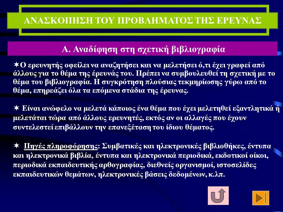 ΑΝΑΣΚΟΠΗΣΗ ΤΟΥ ΠΡΟΒΛΗΜΑΤΟΣ ΤΗΣ ΕΡΕΥΝΑΣ Β. Διαδικασία συγκρότησης της βιβλιογραφίας του προβλήματος Α. Αναδίφηση στη σχετική βιβλιογραφία Δ. Πληροφόρησ